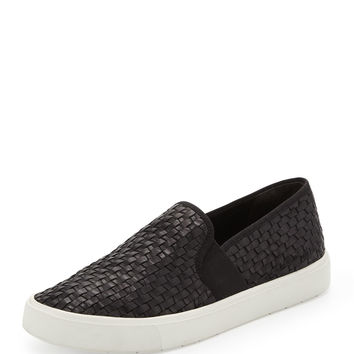Preston Leather Slip-On Sneaker, Black - Vince