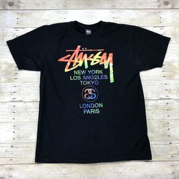 STUSSY Tie Dye Cities Logo Black Cotton T-Shirt Mens Streetwear Size Large