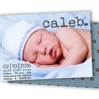 Photo Birth Announcement Boy - Fast Personalized Birth Announcement Card - Vintage Trendy Modern Blue - Polka Dota - Grey Blue