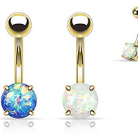 (2pcs) Gold Plated Opal Glitter Prong Set Belly Navel Rings 14g White and Blue