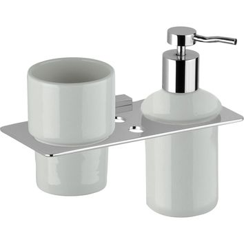 DI NY Wall Ceramic Toothbrush Toothpaste Holder & Soap Lotion Dispenser Set