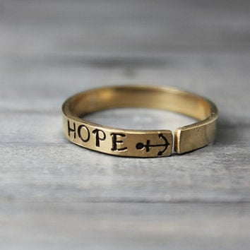 Gold Filled Ring, Hand Stamped Gold Filled, Anchor Ring, Hope Ring Inspiration Ring, Hand Stamped Ring, Personalized Ring,
