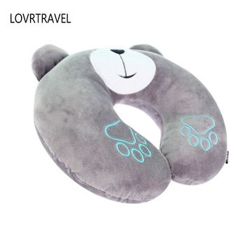 LOVRTRAVEL Travel Pillow for Airplane Cute Cartoon PP Cotton Travel Office Nursing Cervical Neck Support Pillow Road Cushion