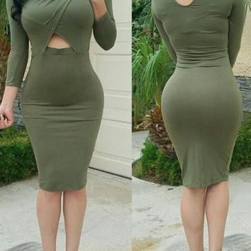 Army Green Plain Cut Out 3/4 Sleeve Midi Dress