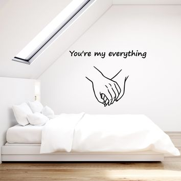 Vinyl Wall Decal Romantic Quote Hands Love Couple Bedroom Home Decor Stickers Mural (ig5603)