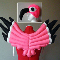 Flamingo Costume, Wings and Hat. Pink Bird Outfit, Dress Up