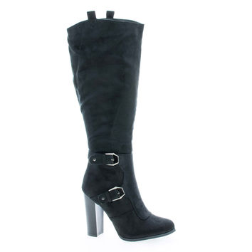 Emilia01 Black By Wild Diva, Almond Toe Knee High Stacked High Heel Boots