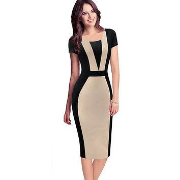 Summer Womens Elegant Optical Illusion Colorblock Contrast Modest Slim Wear to Work Business Casual Party Sheath Pencil Dress