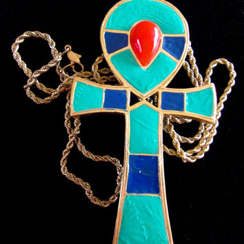 HATTIE CARNEGIE Egyptian Revival Ankh Pendant Necklace, Enamel Brooch, Vintage