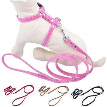 Soft Suede Material Cat Harness And Leash Set Adjustable Pet Traction Cat Halter Harnesses Leads Belt Red Pink Black Brown