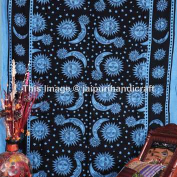 Celestial Sun Moon Stars Tapestry, Star-sun Celestial, Twin Celestial Tapestry Bedspread Coverlet, Indian Tapestry, Throw Wall Hanging
