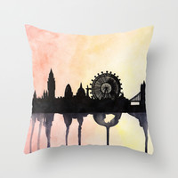 London Watercolour Skyline Throw Pillow by Paint The Moment