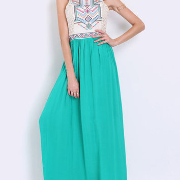 Sleeveless Tribal Embroidered Color Block Maxi Dress