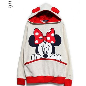 Cartoon Sudaderas Women Hooded Sweatshirts Long Sleeve Female Casual Hoodies Mickey Mouse Print Lady's Sweatshirts Mujer F0258