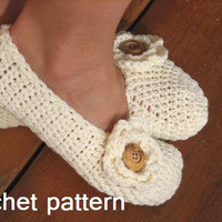 Adult Slippers Crochet Pattern PDF,.. on Luulla