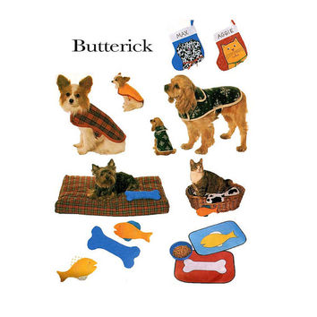 UNCuT DOG CAT ACCESSORIES Pet Bed Toys Coat Outfits Pet Stockings & Placemats Butterick 4226 XSmall Small Med Lrg Pet Craft Sewing Pattern