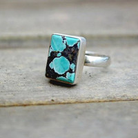 Vintage Black & Turquoise Marbled Ring Vintage Sterling Silver Ring UK
