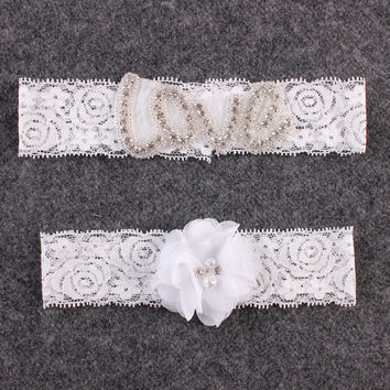 Rhinestone Wedding Garter Set Lace Flower Bridal Garter and Toss Garter Set Wedding Accessories Lingerie & Garters