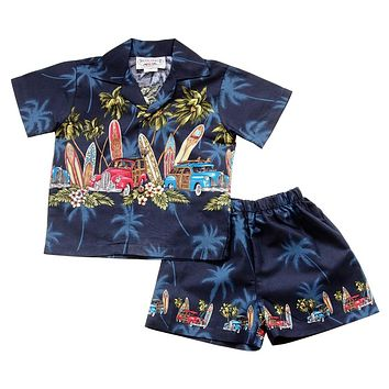 Surfs Up Navy Hawaiian Boy Shirt & Shorts Set