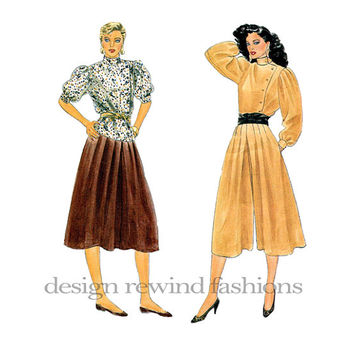 1980s BLOUSE CULOTTES SKIRT Standing Collar Pouf Sleeves Top Vogue 9934 Size 8 Bust 31.5 UnCUT Womens Misses Petite Vintage Sewing Patterns
