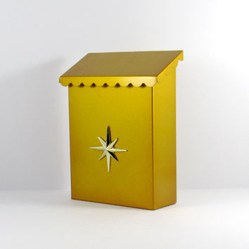 Mid-Century Metal Starburst Mailbox, Harvest Gold Atomic Mailbox, Griswold Mailbox with Box, RARE