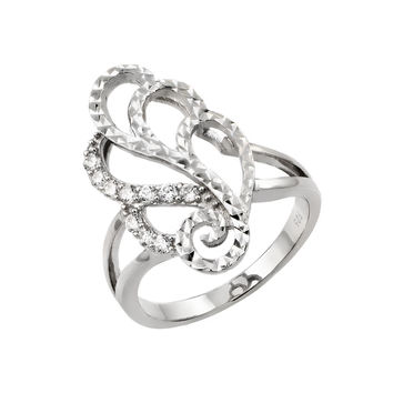 925 Sterling Silver Ladies Jewelry Ring w/ Filigree And Diamond Cut Design.Ring Dimensions Are 22.7mm X 13.1mm  Come In Sizes Of 5, 6, 7, 8, And 9.: Size: 5