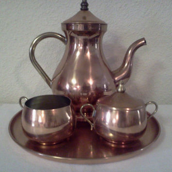 Vintage Copper Tea Set
