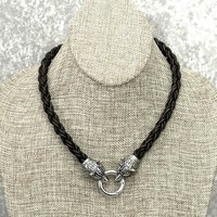 Superior Quality 8 Strand Viking Braid Leather Necklace With Tribal Wolf Heads and Connector Ring