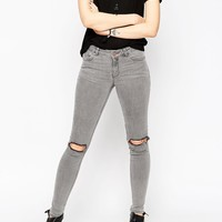 ASOS Lisbon Skinny Mid Rise Jeans in Sant Grey Wash with Rip and Destroy Knees