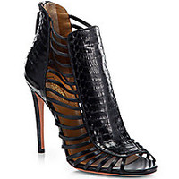 Aquazzura - Follow Me Snake-Embossed Leather Sandals - Saks Fifth Avenue Mobile