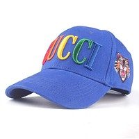 GUCCI Trending Couple Chic Rainbow Letter Embroidery Sports Sun Hat Baseball Cap Hat Blue