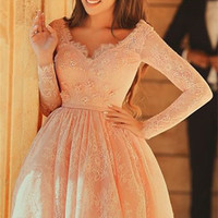 Long Sleeve Homecoming Dress, Pink Lace Homecoming Dresses