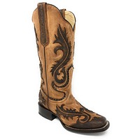 Corral Tan Overlay & Studs Square Toe Boots