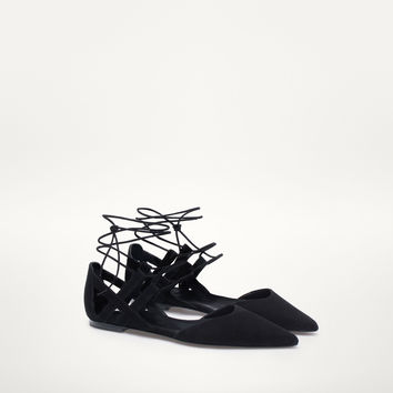 BLACK LACE-UP BALLERINAS - Flat shoes - Shoes - WOMEN - United States - Massimo Dutti