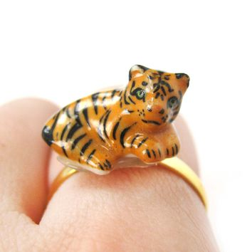 Porcelain Ceramic Baby Tiger Animal Shaped Adjustable Ring | Handmade