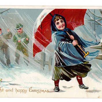 Vintage Christmas Postcard, Little Girl with Umbrella, Boys with Snowballs, Bright and Happy Christmas, Raphael Tuck Postcard, Embossed