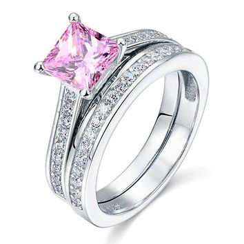 Princess cut 1.5 ct Pink Solid 925 Sterling Silver Engagement ring set