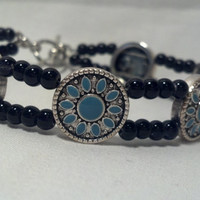 Western Bracelet - Turquoise Flower with Tiny Black Beads