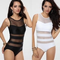 est  Black White One piece Swimwear Monokini with Mesh Tulle  Vest Straps Bathing suit for   S M L T123