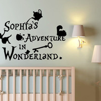 Personalized Name for Girl Wall Decals Alice in Wonderland Sticker Vinyl SM63