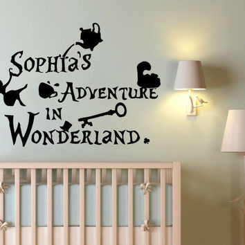 Charmant Personalized Name For Girl Wall Decals Alice In Wonderland Sticker Vinyl  SM63
