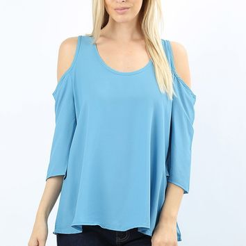 Blue Tunic Top Cold Shoulder Pastel Blue Blouse: S/M/L