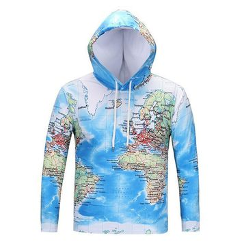 World Map Hoodie T-shirt Men's Women's 3d Long Sleeve Pullover