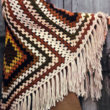 Flingy Tri Square Shawl Vintage Crochet PDF Pattern Retro Fashion Boho. Is not a finished product. It is a PDF Pattern