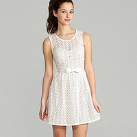 I.N. San Francisco Belted Lace Dress | Dillards.com