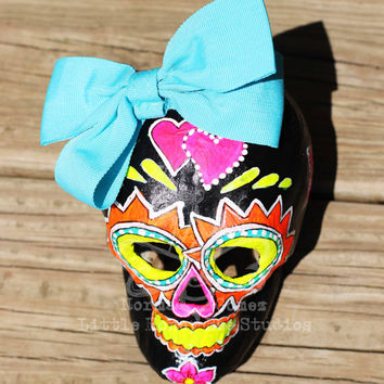 Candy Girl - Vibrant Dia De Los Muertos Sugar Skull - Paper Mache Skull - Halloween Decor - Mexican Folk Art - Neon Sugar Skull Art