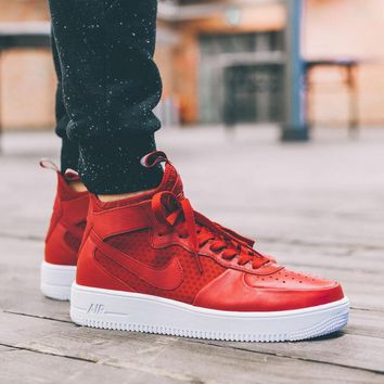 PEAPON Nike Air Force 1 Ultraforce Mid 864025-002 Red For Women Men Running Sport Casual Shoes Sneakers