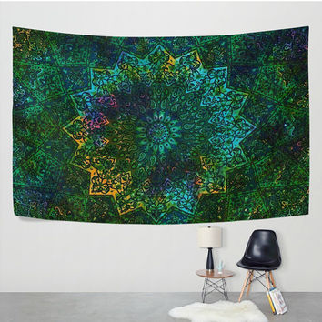 Green Tie Dye Mandale Paisley Tapestry Wall Hanging Psychedelic Elephant Batik Meditation Wall Decor Art for Bedroom Living Room Dorm