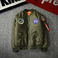 Tide brand pilot jacket baseball clothing men and women air force couple coat tide Green