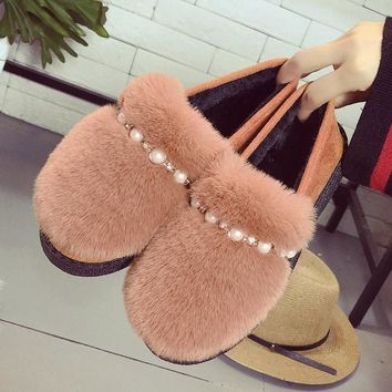 Winter Women Fur Loafers Flat Snow Shoes 2018 Fashion Faux Suede Casual Slip On Ladies Moccasin Keep Warm Soft Female Footwear
